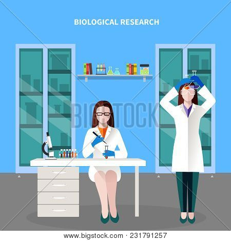 Scientists People Colored Composition With Two Scientists In The Laboratory Spend A Biological Resea