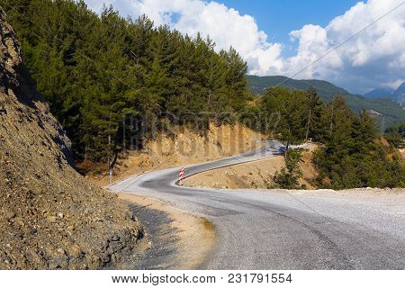 Beautiful Meandering Asphalt Mountain Road. Turkish Landscape.