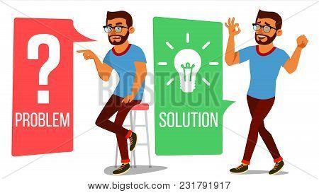Problem Concept Vector. Thinking Man. Problem Solving. Question Mark, Light Bulb. Creative Project I