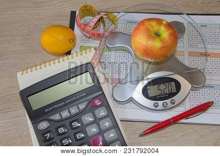 Balanced Diet - Healthy Food On Wooden Table. Low-calorie Fruit Diet. Diet For Weight Loss