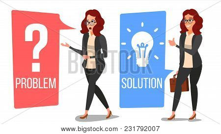 Woman Solving Problem Vector. Problem Solution, Secret Discovery. Career Success. Reative Project Id