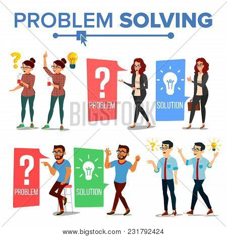 Problem Solving Concept Vector. Thinking Man And Woman. Question Mark, Light Bulb. Creative Project