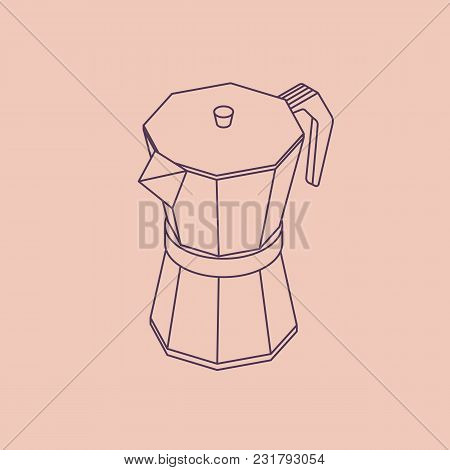 Vector Illustration Thin Line Sketch With 3d Coffee Moka Pot. Coffee Container In Isometric Flat Sty