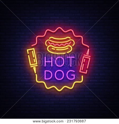 Hot Dog Neon Sign Vector. Hot Dog Logo In Neon Style Design Template, Night Neon Emblem, Light Banne
