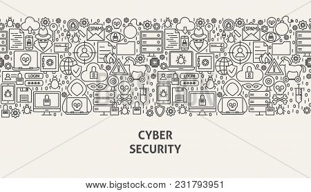 Cyber Security Banner Concept. Vector Illustration Of Line Web Design.