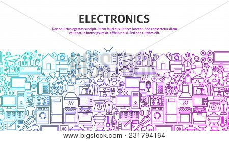 Electronics Web Concept. Vector Illustration Of Line Website Design. Banner Template.