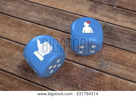 Social Media Icons On Blue Dice, 3d Rendering.