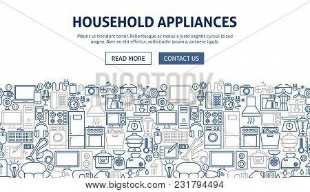 Household Appliances Banner Design. Vector Illustration Of Line Web Concept.