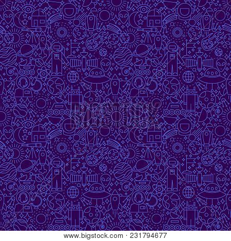 Space Dark Line Seamless Pattern. Vector Illustration Of Outline Tileable Background.