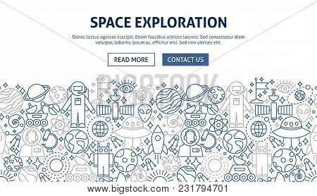 Space Exploration Banner Design. Vector Illustration Of Line Web Concept.