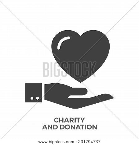 Charity And Donation Glyph Vector Icon Isolated On The White Background.