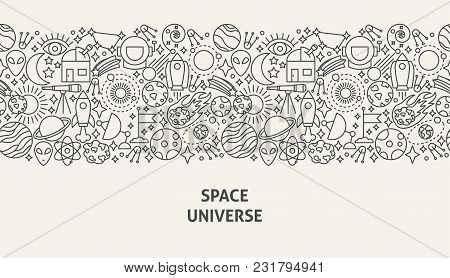 Space Universe Banner Concept. Vector Illustration Of Line Web Design.