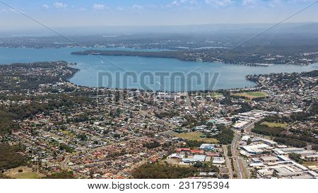 Aerial View Of Lake Macquarie And Warners Bay - Newcastle Australia. The Largest Coastal Lake In Aus