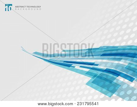 Abstract Technology Curve Overlapped Geometric Squares Shape Blue Colour Perspective With Halftone B