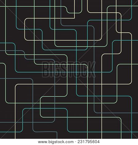 Abstract Striped Technology Digital Curve Lines Green, Blue, Yellow Color Overlay On Dark Background