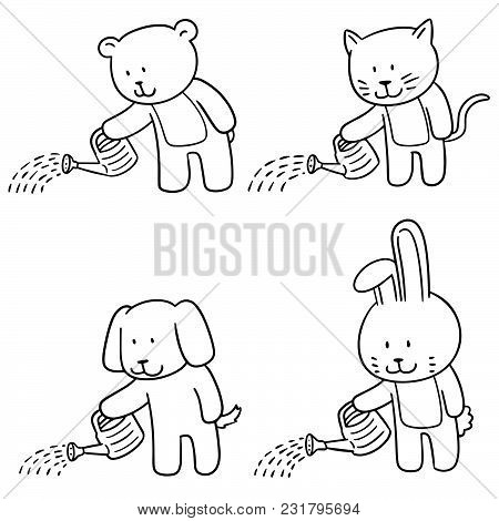 Vector Set Of Animal Watering By Watering Can