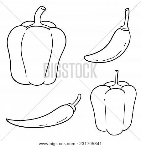 Vector Set Of Chilli Hand Drawn Cartoon