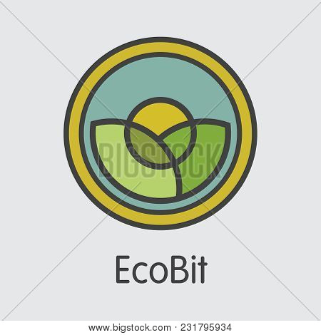 Ecobit Vector Sign Icon For Internet Money. Crypto Currency Graphic Symbol Of Ecob And Icon For Usin