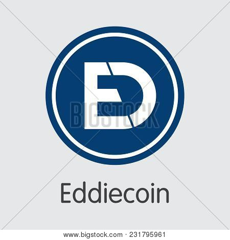 Eddiecoin Vector Logo For Internet Money. Crypto Currency Icon Of Eddie And Trading Sign For Using I