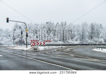 With Salt Prepared Street During The Winter.