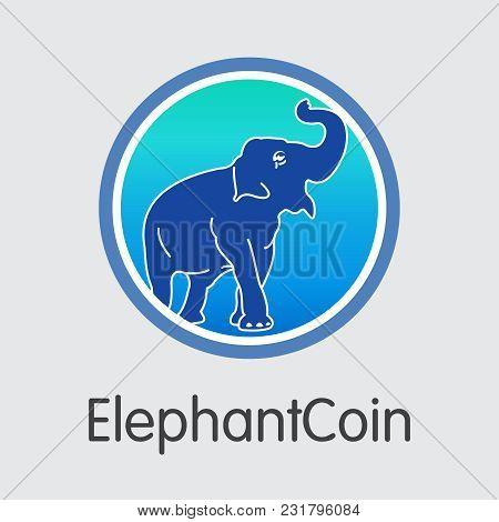 Elephantcoin Blockchain Illustration. Blockchain, Block, Distribution Elp Transaction Icon