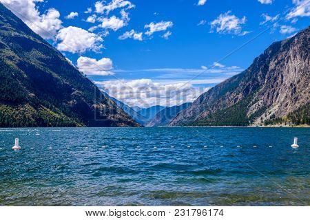 Mountain landscape with blue Seton Lake in Coastal Mountains. Lillooet, British Columbia, Canada.