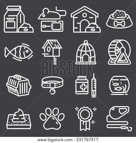Thin Lines Web Icon Set - Pet, Vet, Pet Shop, Types Of Pets