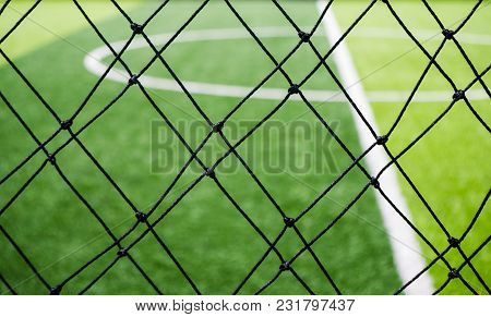 Football Field, Corner Side, Made From Synthetic Lawn, Behind The Net, Selective Focus