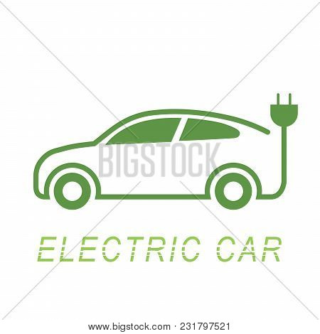Electric Car And Electrical Charging Station Symbol Icon, Vector Illustration