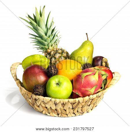 Different Fruits In Baskets, Such As Apples, Orange, Mango, Mangosteen, Carambola, Pitahaya, Rambuta