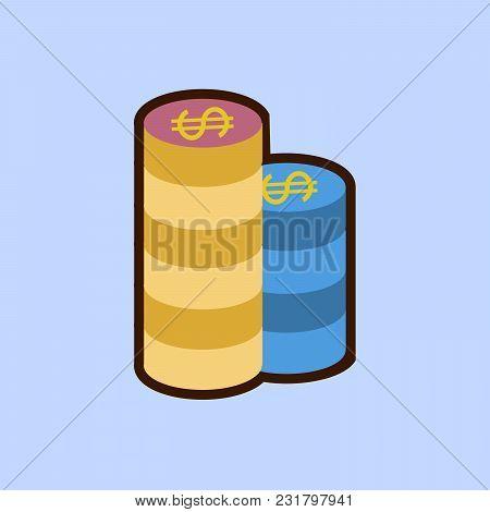 Gambling Chips. Single Flat Icon On Blue Background. Vector Illustration. Eps