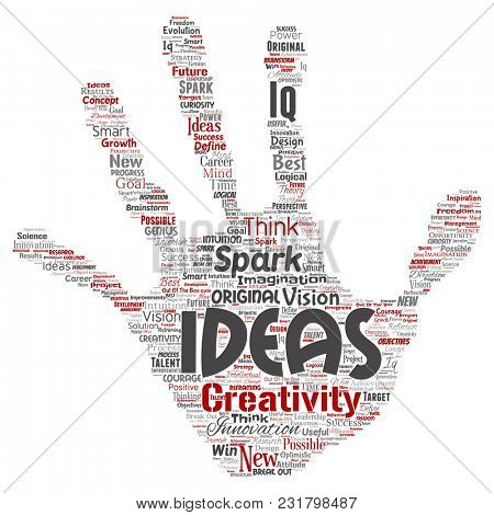 Conceptual creative idea brainstorming human hand print stamp word cloud isolated background. Collage of spark creativity original, innovation vision, think, achievement or smart genius concept