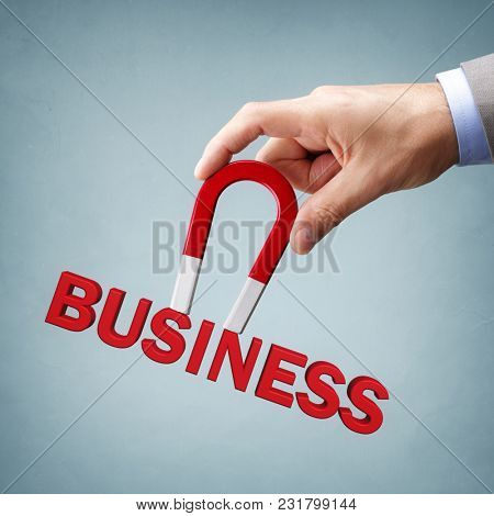 Magnet attracting new business clients and customers concept for marketing strategy