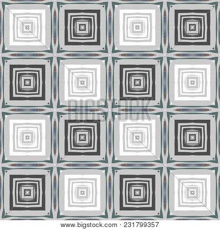 Seamless Abstract Geometric Pattern With Different Squares In Neutral Colors.