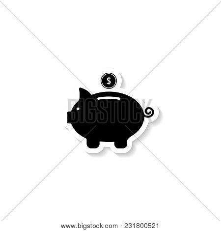 Piggy Bank Sticker Icons On White Background