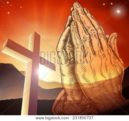A Christian Cross And Praying Hands Illustration