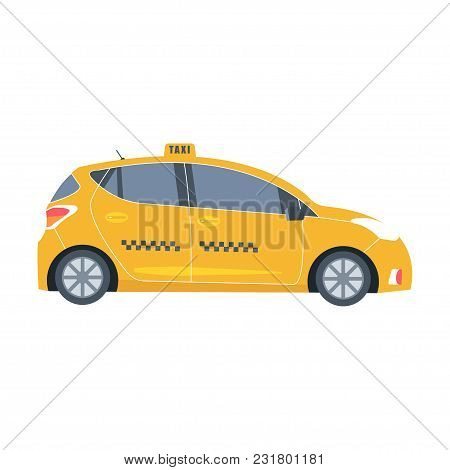 Yellow Cab Icon Isolated On White Background. Taxi Service Concept. Flat Vector Illustration.