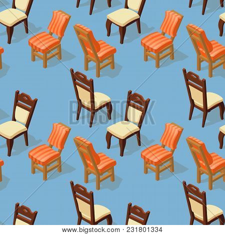 Seamless Pattern Of Isometric Cartoon Chair Isolated On Blue. Chairs With White And Orange Striped U