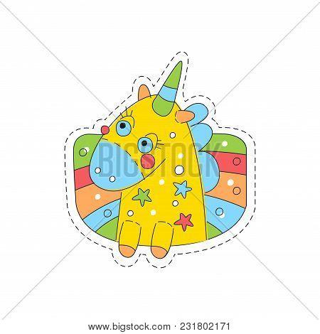 Sweet Unicorn Childish Patch Badge, Cute Cartoon Yellow Animal Sticker Hand Drawn Vector Illustratio