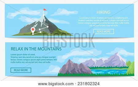Extreme Travel And Hiking Banner Set Vector Illustration. Nature Landscape With Ice Mountain Range.