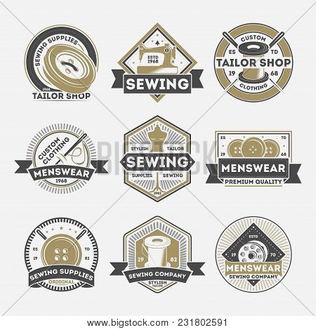 Tailor Sewing Company Vintage Label Set Isolated Vector Illustration. Menswear Studio Badge, Tailor