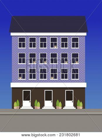 A Multi-storey Dwelling House Made Of Blue Bricks. Vector Illustration.