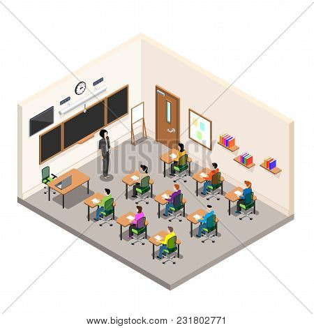A School Room For Study, A Classroom With Desks And A School Board, A Modern Class In Isometric Styl