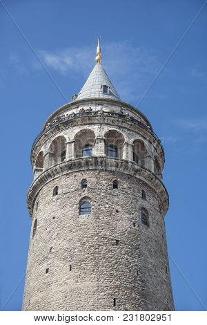 Historical Place Old Galata Tower In Istanbul