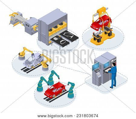 Automated Production Line Under The Control Of A Computer To Assemble Cars, Isometric Image On White