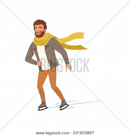 Cheerful Young Man In Warm Clothes And Scarf Ice Skating Vector Illustration Isolated On A White Bac