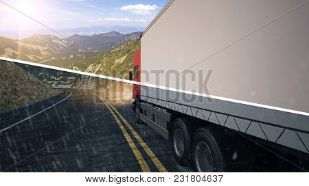 Truck driving in sun and rain through mountains on a road (3D Rendering)