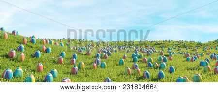 Looking for many easter eggs on green meadow as a panorama header (3D Rendering)