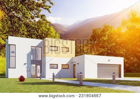 Kubus house building with house and garage in the French Alps (3D Rendering)