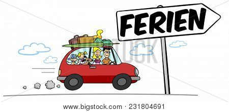Cartoon family goes on summer vacation with their car and luggage with German sign